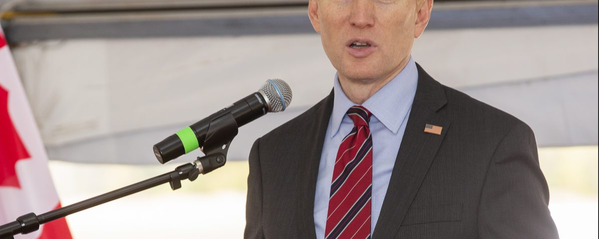 Senator James Lankford speaks during a during a groundbreaking event for Pro Pipe at Iron Horse Industrial Park in the Citizen Potawatomi Nation,